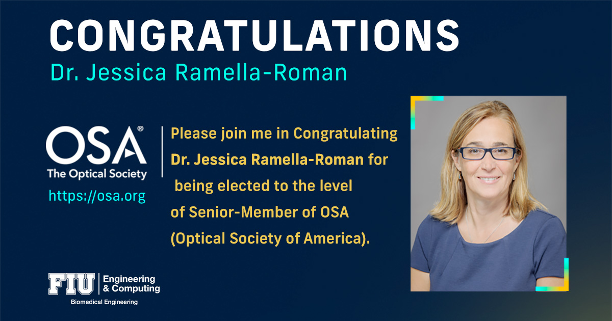 Dr. Jessica Ramella-Roman elected to the level of Senior Member of OSA